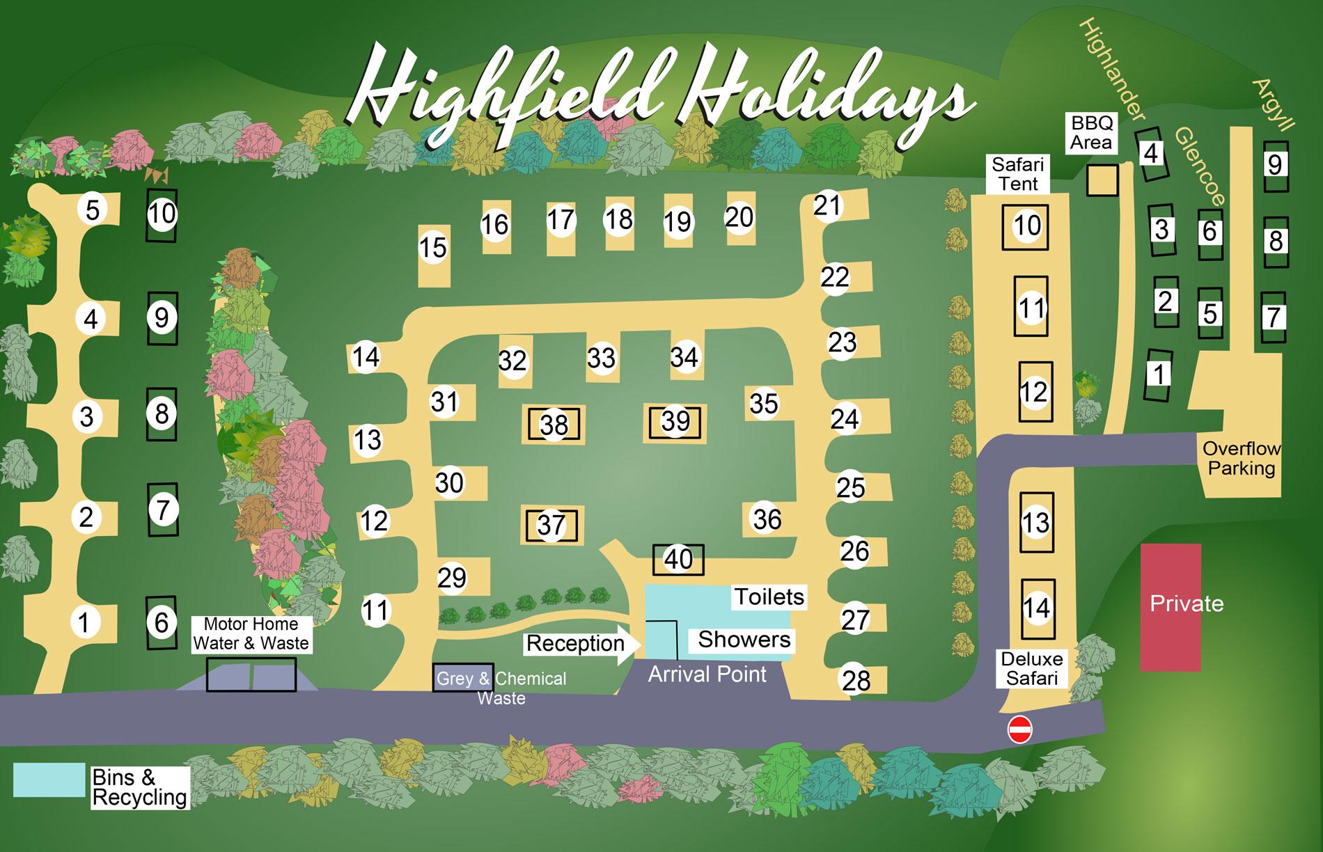 Highfield Holidays Park Map